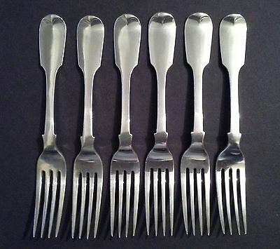 6 x VICTORIAN MATCHING SILVER FORKS LONDON 1846 HEAVY QUALITY