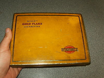 Very Nice Vintage Large Wills Gold Flake Cigarette Tin