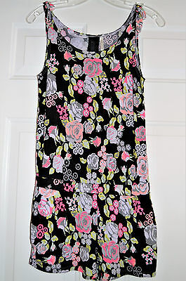 H & M Girls 13-14 Romper Black With Pink Floral Shorts