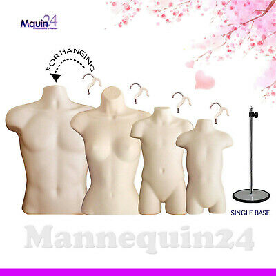 4 Flesh Mannequins Set Male Female Child Toddler Torso Forms +4 Hangers +1 Stand