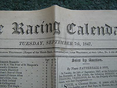 RACING CALENDAR NEWSPAPER, SEPTEMBER 7th 1847