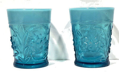 2 Old Fenton Waterlily and Cattails Blue Opalescent Tumblers
