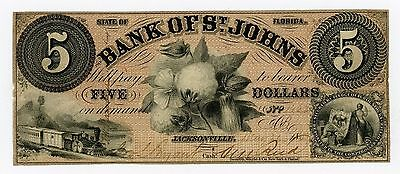 1800's $5 The Bank of St. Johns - Jacksonville, FLORIDA Note