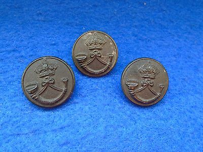 3 X 1881-1928 Rifle Brigade 24Mm Blackhorn Composition Buttons