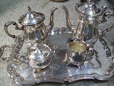 Leonard Silver Plate 5 Pc Tea Set Waiter Tray