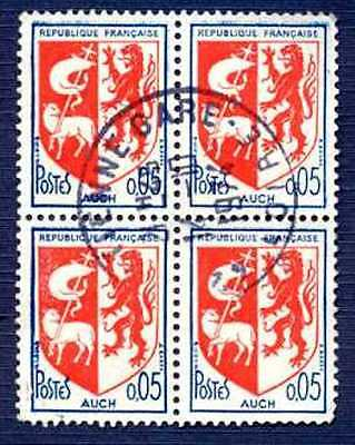 France 1966-Sc#1142-Arms Of Auch-Block Of 4-Used