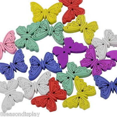 "50PCs Wood Sewing Buttons Scrapbooking Butterfly 2 Holes Mixed 6/8""x1"""