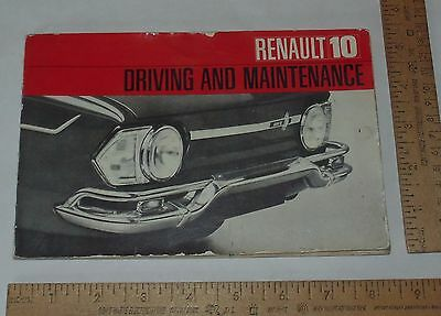 Renault 10 Driving And Maintenance Booklet