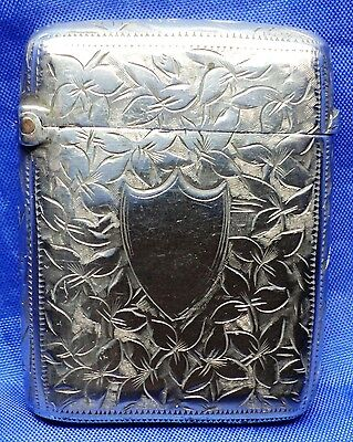 Victorian Engraved Solid Silver Vesta Case By Mitchell Bosley & Co ~ B'ham 1894