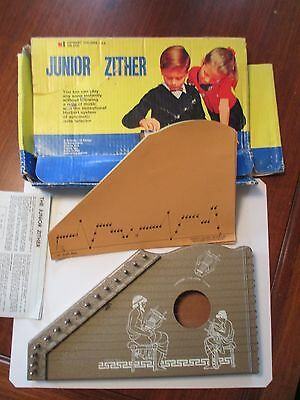 Vintage Junior Zither Harbert Italiana Milano Italy  Box & 10 Music Sheets