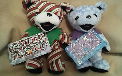 Lot of 2 Grateful Dead Bean Bears Candy Man & Snowflake & Tags Made in Indonesia