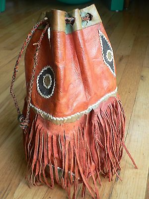 Red Leather African Drawstring Bag with Leather Applique and  Fringe  1980 Vtg.