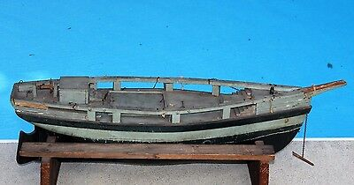 ANTIQUE Primitive Folk Art Early 1900's WOODEN MODEL POND BOAT SAILING SHIP HULL