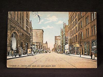MN Duluth Superior St Looking East From 5th West Vintage Postcard