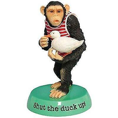 """WL SS-WL-13854 Shut The Duck Up Monkey Collectible Figurine Statue, 5"""" New"""