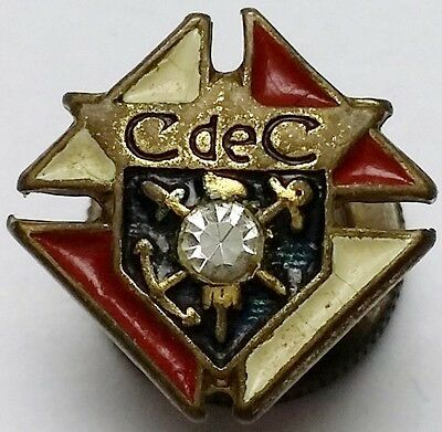 Vintage Association CdeC de Québec Lapel Screw-back Pin w/ Crystal, Combined S/H