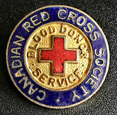 Vintage Canadian Red Cross Society Blood Donor Services Enamel Medal - B5D42