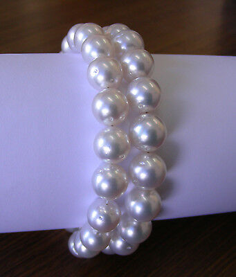 AUST WHITE 10.8mm!! SOUTH SEA PEARL STRAND 100% UNTREATED+18ct GOLD CLASP+CERT