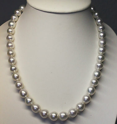 SOUTH SEA 13.7mm PEARL NECKLACE 100% UNTREATED +18ct GOLD CLASP +CERT AVAILABLE