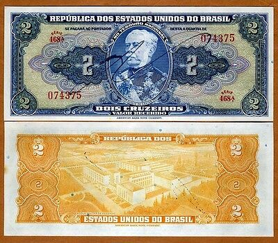 Brazil, 2 cruzeiros (1944-1945), P-133, Serie 468, Hand Signed, Ch.  UNC