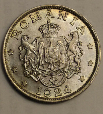 1924  Two Lei  Coin of Romania UNC
