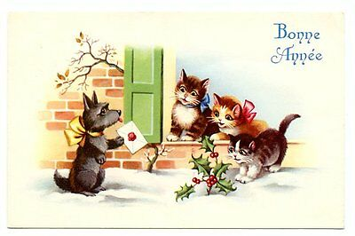 vintage cat postcard scotty dog delivers letter to cats at door holly snow 1961