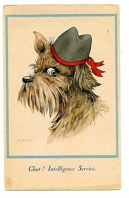 vintage postcard M.B. Cooper dressed scotty dog w hat