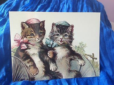 modern cat postcard Thompson lady cats w bonnets & bows ride in carriage