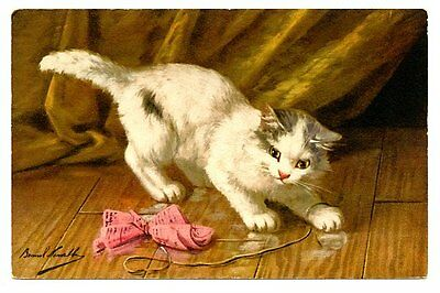 vintage cat postcard beautiful white cat plays w paper tied on string
