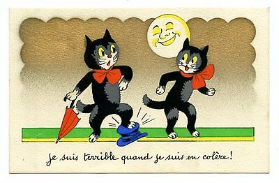 vintage cat postcard black cats w umbrella bows step on hat by moonlight
