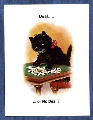 modern cat postcard adorable black cat playing cards Deal or No Deal CAT CHARITY