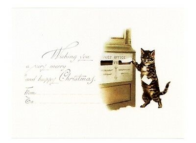 modern cat postcard Maguire tabby cat mails Christmas letter post office box