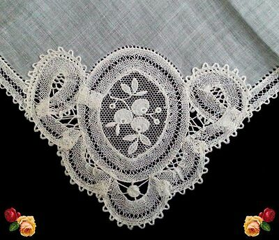Vintage Embroidered Floral Bobbin Tape Lace Hankie Wedding White Scallop