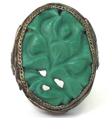 Vintage Antique Chinese Export Green Turquoise Carved Flower Ring Filigree