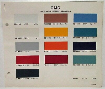 1965 GMC Truck Paint Chip Colors