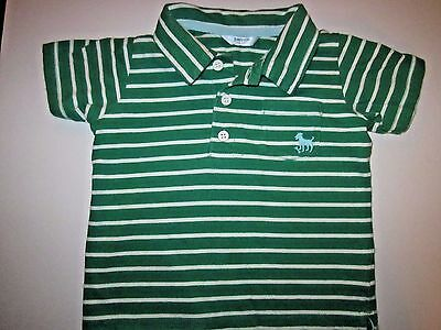 BABY BODEN Infant Green and White Striped Short Sleeve Polo Shirt Sz 18-24M