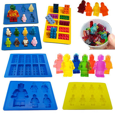 Set of 3 Robot Brick Chocolate Ice Tray Jelly Minifigure Silicone Mould Block UK