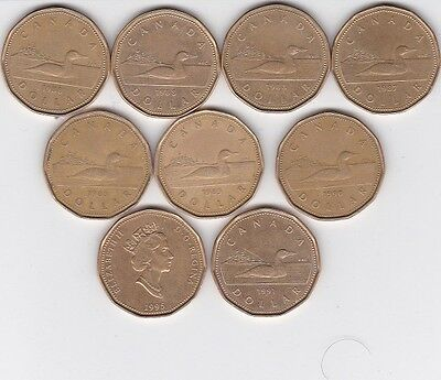 10  - 1987 to 1995  Canadian $1 Dollar Coins Canada Loonie Lot