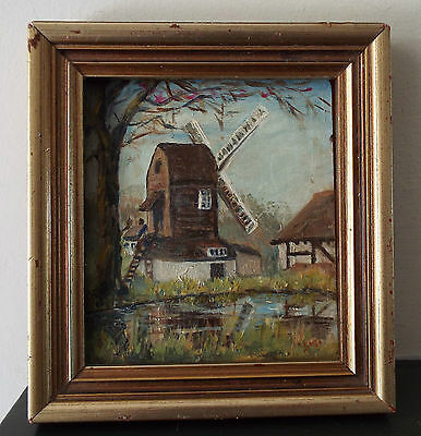 Framed Vintage Miniature Oil Painting on Board Windmill/Pond Outwood Surrey