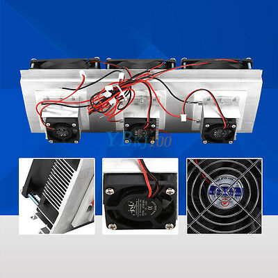 Thermoelectric Peltier Refrigeration Air Cooling System Kit Cooler 3 x Fan DIY