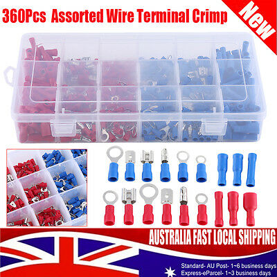 360Pcs Assorted Insulated Electrical Wire Terminals Connector Crimp Spade Box AU