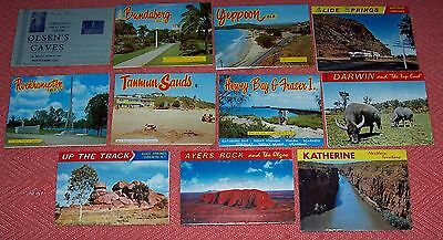 Early Australian Postcard Folders x 11. Darwin Alice Ayers Rock Yeppon plus