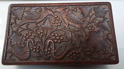 Anglo Indian Densely Hand Carved Wooden Box Black Forest? Birds Leaves Treen