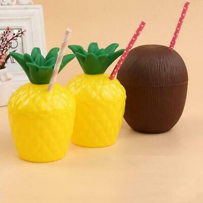 Tropical Fruit Pineapple Coconut Drink Cup Straw Summer Luau Party Table Décor