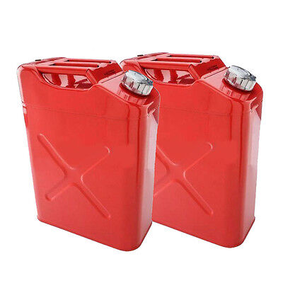 2 x 20L Liter 5 Gallon Jerry Can Steel Tank Fuel Can Gas Fuel Tank Gasoline New