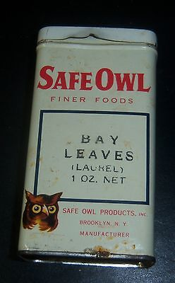 c1930s Vintage SAFE OWL Finer Foods Spices Brooklyn NY BAY LEAVES TIN 1 ounce