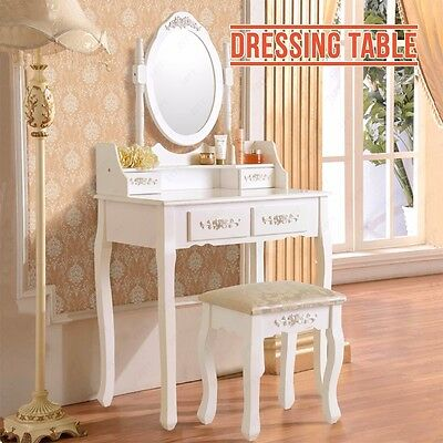 BN White Dressing Table Vanity Makeup Desk with 4 Drawers, Mirror Set and Stool