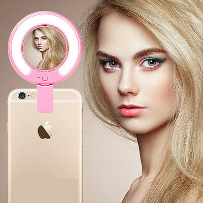 360° Mirror Selfie LED Ring Flash Camera Photography Fill Light For iPhone