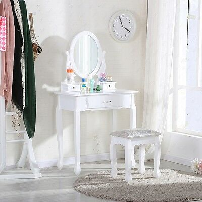 New White Dressing Table Makeup Desk W/ Stool, 3 Drawers and Oval Mirror Bedroom