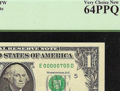 Low # $1 Dollar Bill 7 Hundred Federal Reserve Note Currency Paper Money Pcgs 64